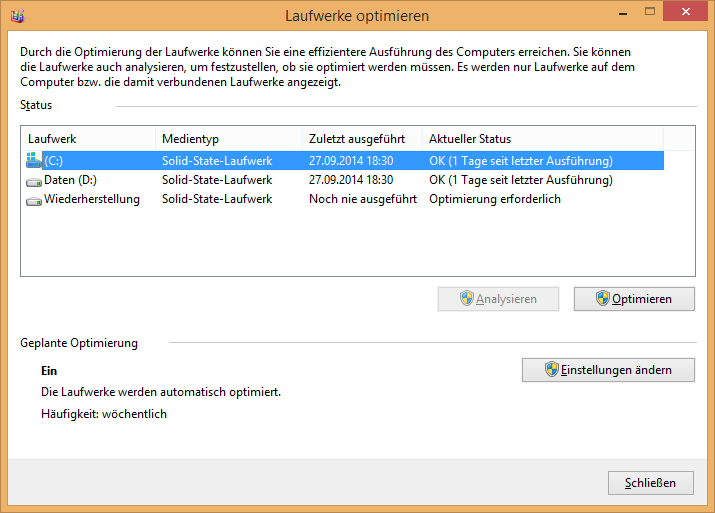 Windows 8 Laufwerke optimieren