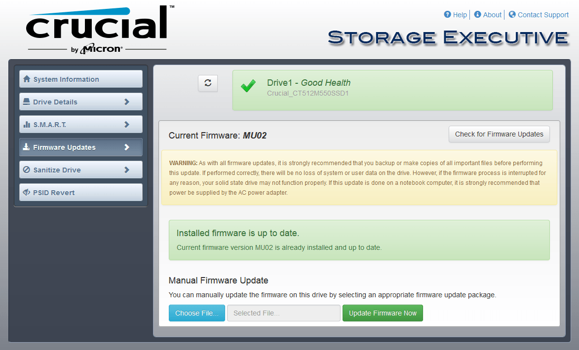 Crucial Storage Executive Firmware-Update