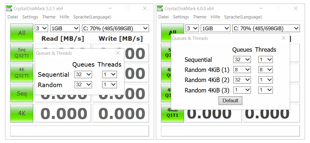 CrystalDiskMark 5.2.1 (links) und CrystalDiskMark 6.0.0 (rechts)